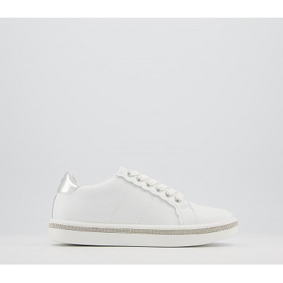 Office Fancier Embellished Lace Up Trainers White Embellished - Flat Shoes for Women for Women outfits BE40P3054