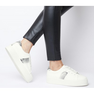 Office Feature Platform Lace Up Trainers White With Snake - Flat Shoes for Women for Women TV11W3054