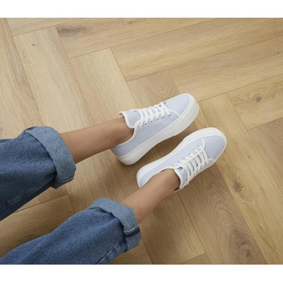Office Feeling Flatform Lace Up Trainers Blue Canvas - Flat Shoes for Women for Women FF5AF9137