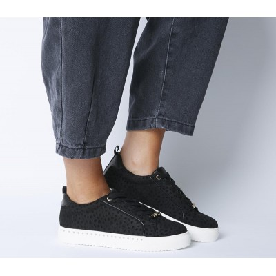 Office Finding Lace Up Trainers Black Flocked Cheetah - Flat Shoes for Women for Women On Line YYTWS1951
