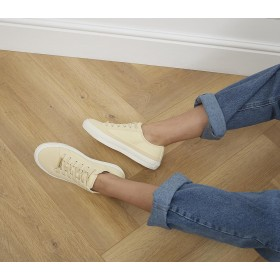 Office Finest Canvas Lace Up Trainers Pale Yellow Canvas Mix - Flat Shoes for Women for Women Designer 5C90E457
