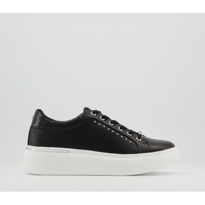 Office Finish Lace Up Trainers Black With Silver Hardware - Flat Shoes for Women for Women WHQHR8308