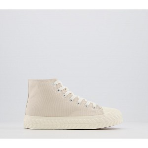 Office Flourishing Textured Sole High Top Trainers Natural Canvas - Flat Shoes for Women for Women Trends N04EW3476