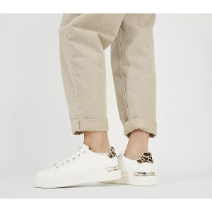 Office Fresh Lace Up Trainers White With Leopard - Flat Shoes for Women for Women HBJC05915