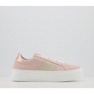 Office Freya Flatform Lace Up Trainers Nude Suede Mix - Flat Shoes for Women for Women U03QR454