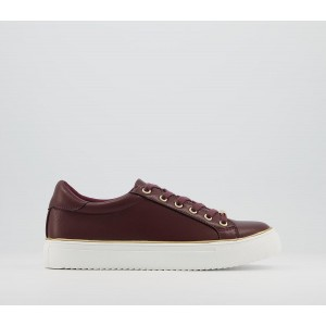 Office Frosty Lace Up With Rand Trainers Burgundy With Gold Rand - Flat Shoes for Women for Women C2FRI3817