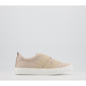 Office Fume Multi Elastic Slip On Trainers Taupe Gold Hardware - Flat Shoes for Women for Women wholesale P6PU47621
