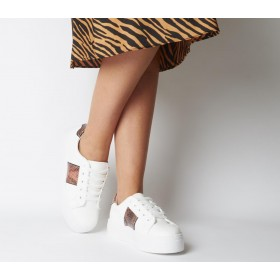 Office Furious Lace Up Trainers White W Nude Snake - Flat Shoes for Women for Women new in 9M4YA5506