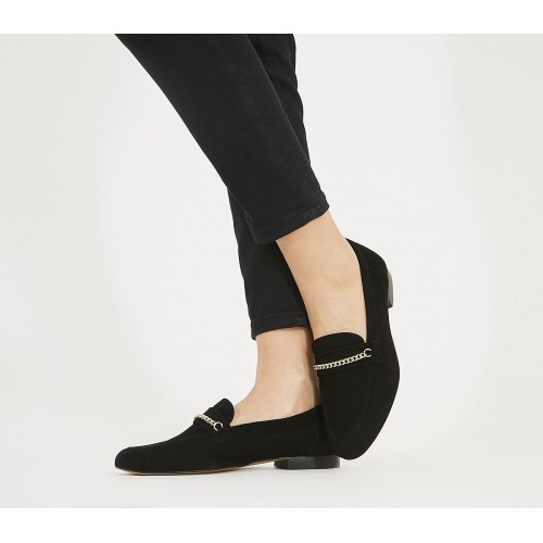 Office Fasinate Chain Loafers Black Suede - Women's Loafers for Women the best K9F8G3001