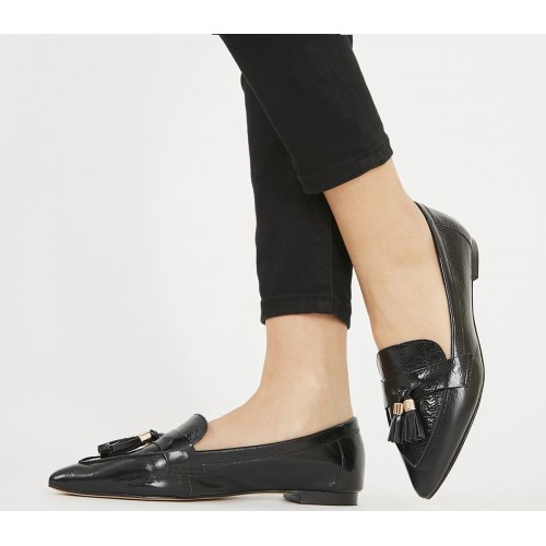 Office Fib Pointed Tassel Loafers Black Leather - Women's Loafers for Women IMH231900