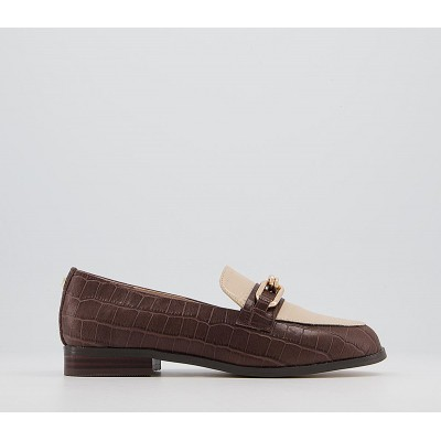 Office Finer Metal Trim Loafers Brown Croc Off White Leather Mix - Flat Shoes for Women for Women SL0PK2240