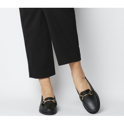 Office First Class Trim Loafers Black Leather Black Sole - Flat Shoes for Women for Women in style WU29V971