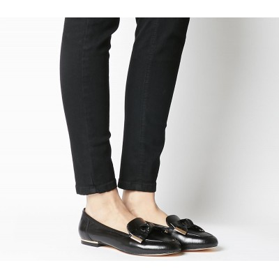 Office Flannery Bow Loafers Black Leather - Flat Shoes for Women for Women Trend X56YQ5381