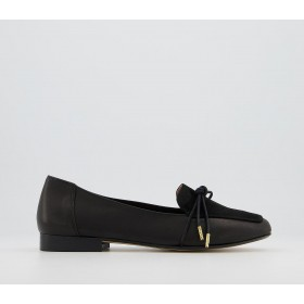 Office Flashlight Slim Bow Loafers Black Leather Suede Mix - Flat Shoes for Women for Women Z0UAZ4273