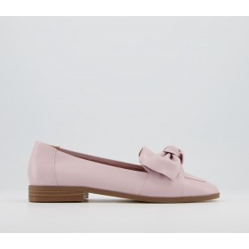 Office Flurry Bow Loafer Shoes Pink Leather - Flat Shoes for Women for Women NNPAM3248
