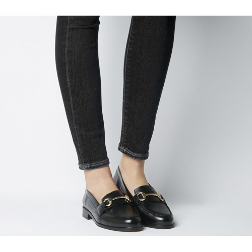 Office Fluster Loafers Black Hi Shine Leather - Flat Shoes for Women for Women on sale near me IMQP77610