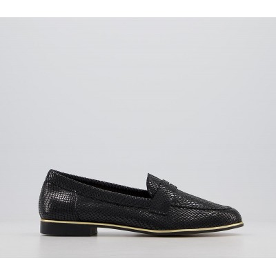 Office Flutter Loafers Black Snake Leather Gold Rand - Flat Shoes for Women for Women Comfort E1FXW3932
