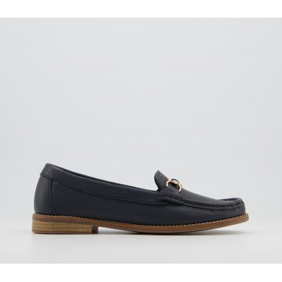 Office Friesan Trim Soft Loafers Navy Leather - Flat Shoes for Women for Women online shopping YW4KR7837