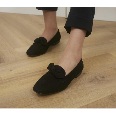 Office Front Soft Bow Loafers Black Suede - Non Promo Products for Women the best 0VD0V1026