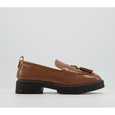 Office Fundamental Cleated Tassel Loafer Shoes Brown Leather - Flat Shoes for Women for Women PPRD12150