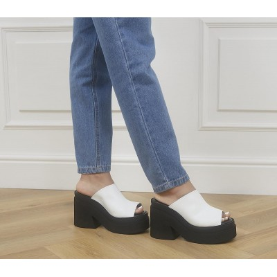 Kaltur Heeled Mules Black White - Mid Heels for Women Ships Free 55CNS1930