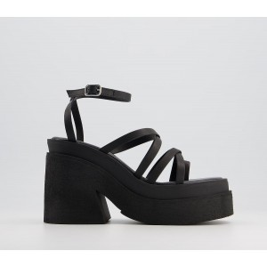 Kaltur Strappy Mules Black - Mid Heels for Women most comfortable BYBRI3696
