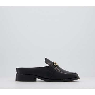 Office Friday Open Back Loafers Black Leather - Step Out In Style for Women TMNVP1974