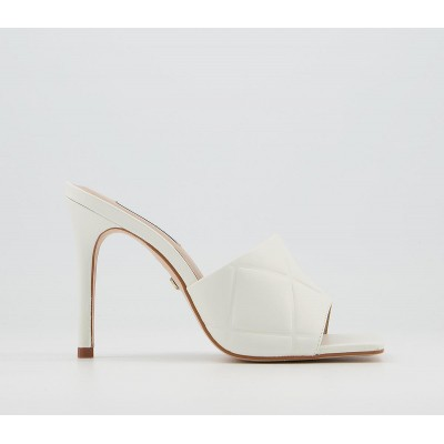 Office Hatter Quilt Detail Mule Stilettos White Leather - High Heels for Women Lowest Price OO7C76218