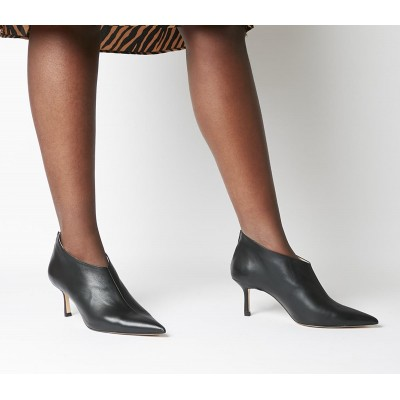 Office Macs Pointed Shoeboots Black Leather - Mid Heels for Women Express B0Y7H8026