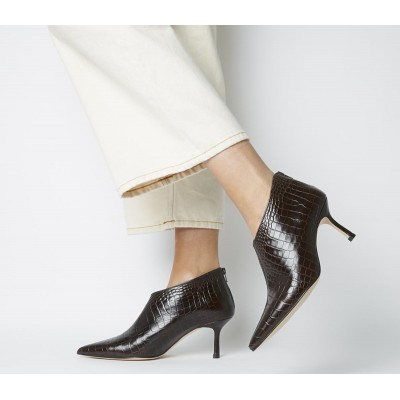 Office Macs Pointed Shoeboots Brown Croc Leather - Mid Heels for Women Number 1 Selling A4LN26837