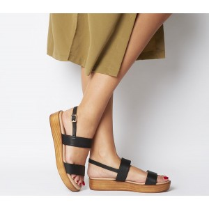 Office Madison Double Strap Sandals Black Leather - Mid Heels for Women The Most Popular LF55I449