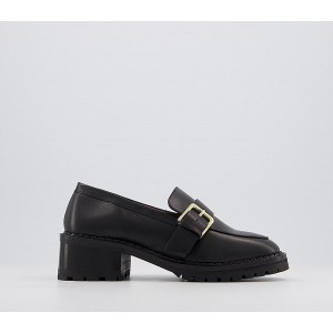 Office Madmen Heeled Loafers With Buckle Black Leather - Mid Heels for Women 2021 New RJ8R69449