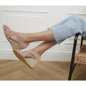Office Maiden Cross Strap Wedges Nude Suede - Mid Heels for Women On Sale 35RFH4042