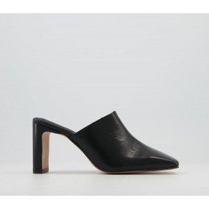 Office Mail Mule Mid Heels Black Leather - Womens for Women new in VBUDR7633