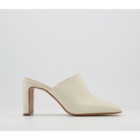 Office Mail Mule Mid Heels Off White Leather - Mid Heels for Women on style DSSXO6315