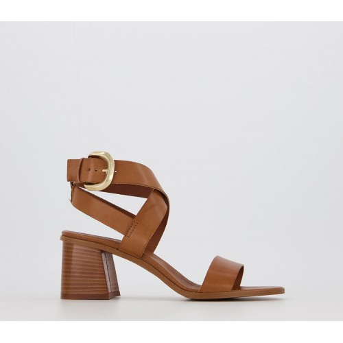 Office Make It Casual Block Heel Sandals Tan Leather - Mid Heels for Women on style 8PRHS4201