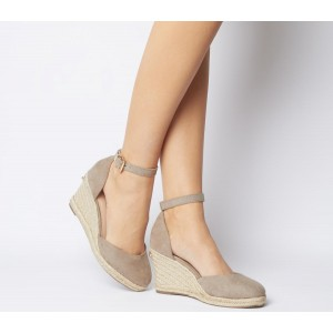 Office Marsha Closed Toe Espadrille Wedges Taupe With Gold Branding - Mid Heels for Women Hot HKPT0396