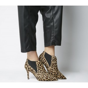 Office Maxwell Pointed Chelsea Boots Leopard Pony Effect - Mid Heels for Women 53GCK9853