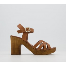 Office Meagan Strappy Two Part Wood Block Heels Tan Leather - Mid Heels for Women e fashion C4OUH8701