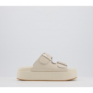 Office Meditation Footbed Flatform Sandals Off White Leather - Mid Heels for Women In Store 5CN9L3094