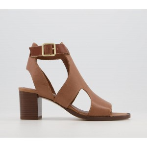 Office Middelburg Covered Sandals Caramel Leather - Mid Heels for Women Deals 2YAM9222