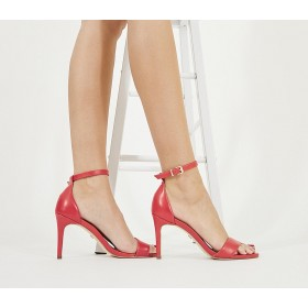 Office Mimosa Two Part Mid Sandals Red Leather - Mid Heels for Women N0ZBU1071