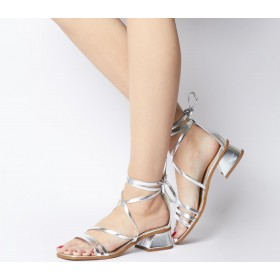 Office Minimal Strappy Mid Block Heels Silver Leather - Mid Heels for Women Regular 6GZ2O8116