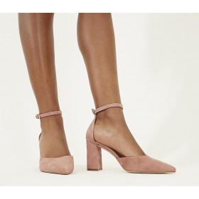 Office Minnie Ankle Strap Court Heels Dusty Pink Suede - Mid Heels for Women L8XHV1913