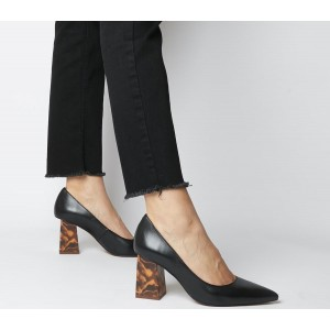 Office Minty Feature Heel Court Shoes Black Leather - Mid Heels for Women Clearance Sale USW4Y5398