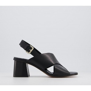 Office Moldova Coverage Sandals Black Leather - Mid Heels for Women business casual RUI0W223