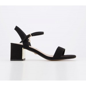 Office Mula Minimal Block Heel Sandals Black With Gold Heel Plate - Mid Heels for Women Fitted EY6NS5589