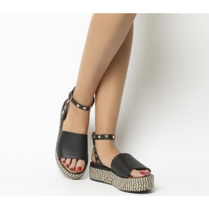 Inuovo Star Ankle Tie Flatforms Black - Mid Heels for Women 9JUD31600