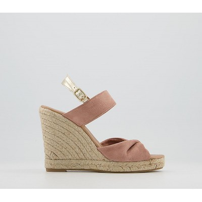 Office Haikou Twist Vamp Espadrilles Soft Pink Suede - High Heels for Women outlet YUARB7447