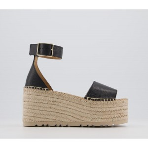 Office Hare Two Part Espadrille Flatforms Black Leather - High Heels for Women In Sale 4CETU2991